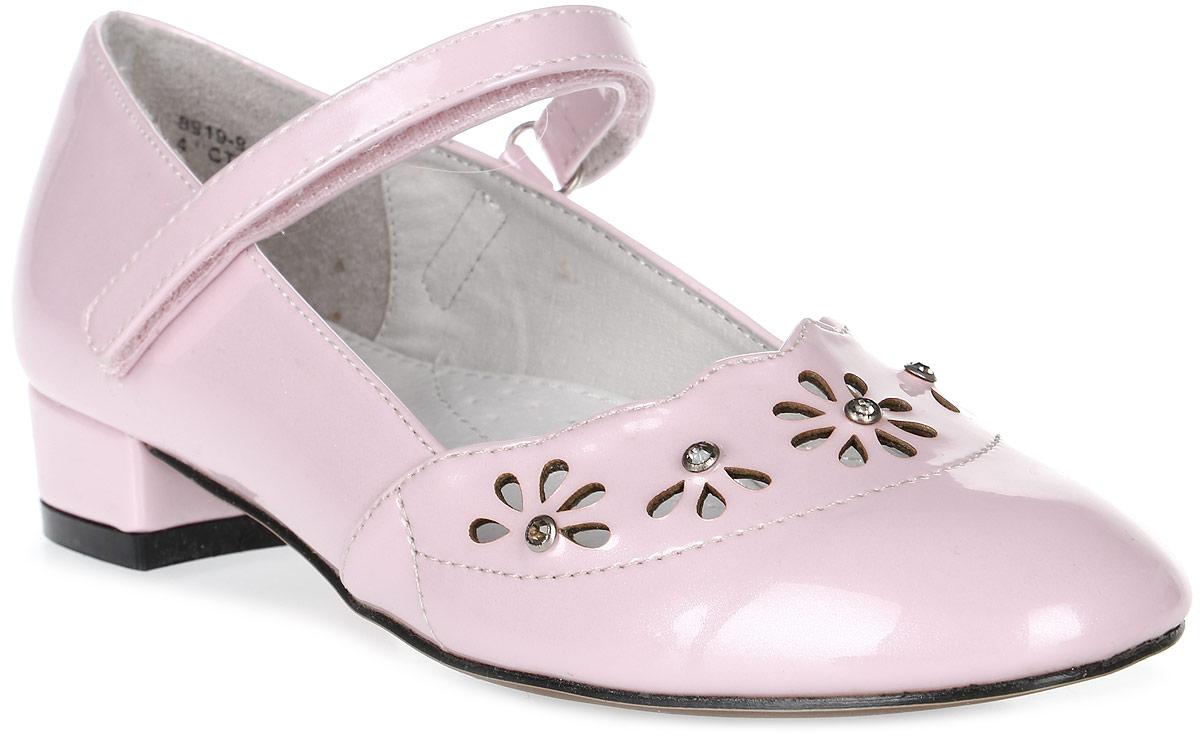 Туфли для девочки Зебра, цвет: розовый. 8919-9. Размер 37,58919-9Туфли для девочки от Зебра на невысоком квадратном каблучке выполнены искусственной кожи. Ремешок на застежке-липучке надежно зафиксирует изделие на ножке ребенка. Подкладка и стелька выполнены из натуральной кожи, что предотвращает натирание и гарантирует уют.