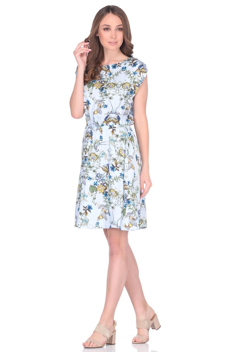 Платье EseMos, цвет: голубой, зеленый, желтый. 106. Размер 46106Легкое платье EseMos, изготовленное из струящейся ткани, выполнено в изысканной современной расцветке. Женственный силуэт без рукавов, изящно присобран по талии на мягкую резиночку, образуя красивую драпировку. Спущенная пройма лишь слегка прикрывает плечи. Платье имеет подьюбник, который помогает держать форму, не утяжеляя при этом платье. Модель превосходно садится по фигуре, скрывая возможные несовершенства, подчеркивает достоинства, дарит ощущения легкости и комфорта.