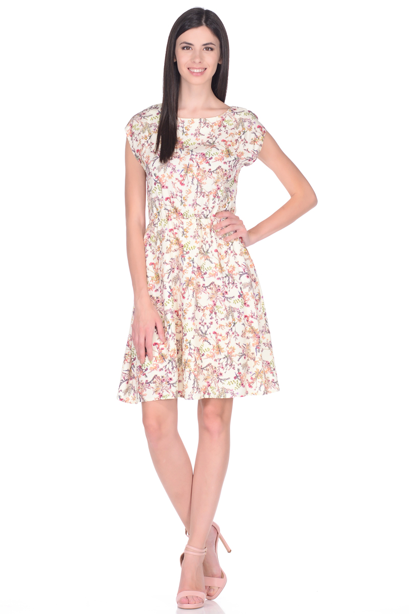 Платье EseMos, цвет: молочный, красный, зеленый. 106. Размер 46106Легкое платье EseMos, изготовленное из струящейся ткани, выполнено в изысканной современной расцветке. Женственный силуэт без рукавов, изящно присобран по талии на мягкую резиночку, образуя красивую драпировку. Спущенная пройма лишь слегка прикрывает плечи. Платье имеет подьюбник, который помогает держать форму, не утяжеляя при этом платье. Модель превосходно садится по фигуре, скрывая возможные несовершенства, подчеркивает достоинства, дарит ощущения легкости и комфорта.