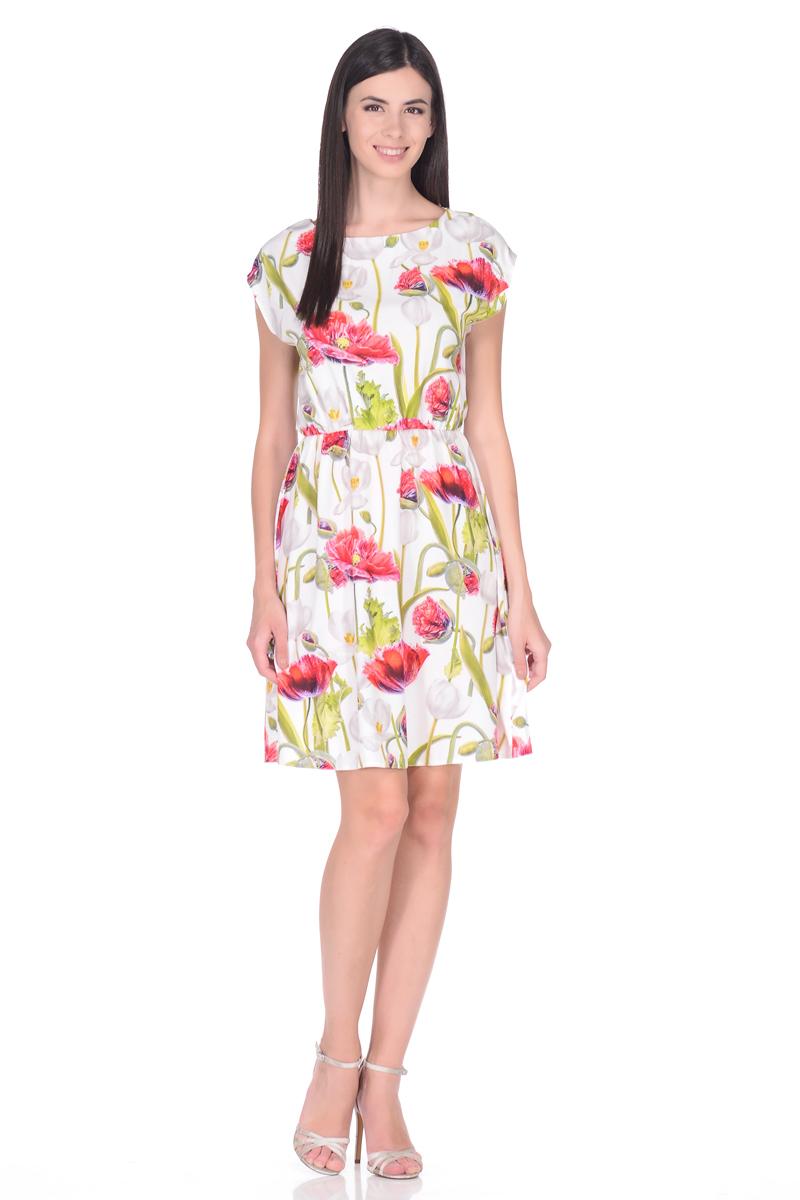 Платье EseMos, цвет: белый, красный, зеленый. 108. Размер 42108Яркое летнее платье EseMos выполнено из струящейся ткани в изысканной современной расцветке. Женственный силуэт без рукавов, изящно присобран по талии на мягкую резиночку, образуя плавные ниспадающие складки по юбке. Спущенная пройма лишь слегка прикрывает плечи. Модель превосходно садится по фигуре, скрывая возможные несовершенства, подчеркивает достоинства, дарит ощущения легкости и комфорта.