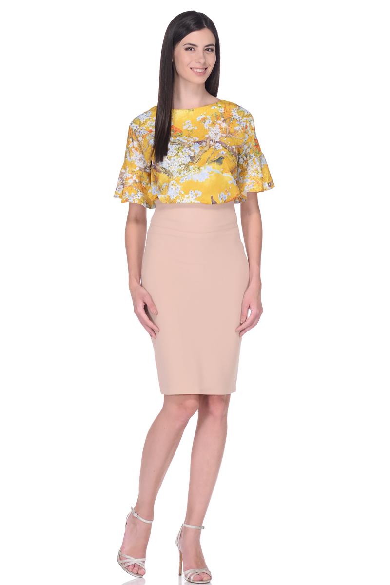Блузка женская EseMos, цвет: желтый, голубой, зеленый. 110. Размер 48110Элегантная блузка EseMos из легкого материала в изысканной расцветке. Модель прямого покроя, с округлым вырезом горловины. Короткие цельнокроеные рукава оформлены великолепными воланами, которые эффектно украшают лаконичный фасон. Блузка превосходно садится по фигуре, обеспечивая комфорт. Красивая расцветка на ткани привлекает внимание, подчеркивает женственность, придавая образу еще больше очарования.