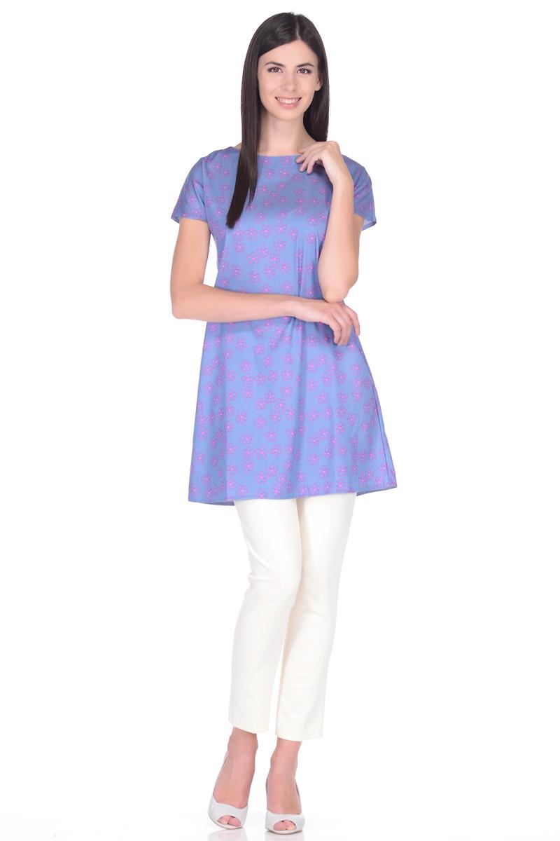 Туника EseMos, цвет: серо-голубой, фуксия. 112/1. Размер 44112/1Туника EseMos в лаконичном исполнении изготовлена из приятной хлопковой ткани в привлекательной расцветке. Модель прямого силуэта, с короткими цельнокроеными рукавами и округлым вырезом горловины. Модный фасон без лишних деталей, отлично садится по фигуре, не сковывает движений, дарит ощущения легкости и комфорта.