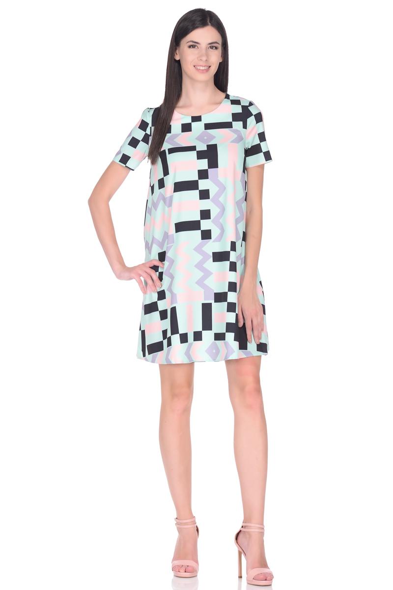 Платье EseMos, цвет: бирюзовый, розовый, черный. 114. Размер 48114Стильное платье EseMos трапециевидного силуэта, с короткими рукавами и округлым вырезом горловины. Платье выполнено из искусственного шелка, материал в красивой расцветке, приятный, легкий и почти не мнется. Такое платье подходит для фигуры любого типа, скрывая несовершенства, подчеркивает достоинства, дарит комфорт и свободу движениям.