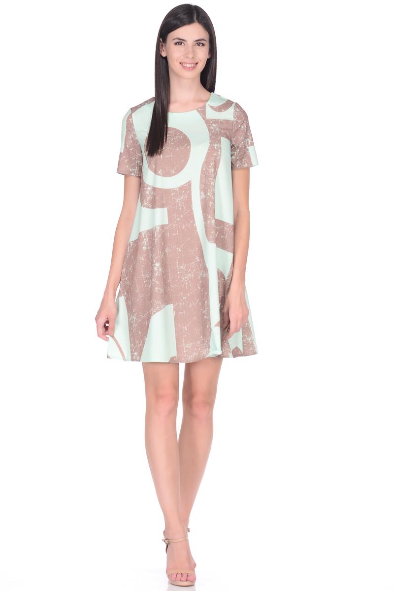 Платье EseMos, цвет: светло-зеленый, светло-коричневый. 114. Размер 48114Стильное платье EseMos трапециевидного силуэта, с короткими рукавами и округлым вырезом горловины. Платье выполнено из искусственного шелка, материал в красивой расцветке, приятный, легкий и почти не мнется. Такое платье подходит для фигуры любого типа, скрывая несовершенства, подчеркивает достоинства, дарит комфорт и свободу движениям.