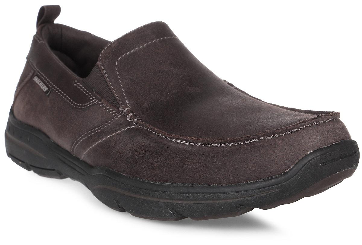 Полуботинки мужские Skechers Harper - Forde, цвет: коричневый. 64858-DKBR. Размер 12 (46,5)64858-DKBRСтильные мужские полуботинки от Skechers отлично подойдут для повседневной носки. Верх модели выполнен из натуральной кожи. Эластичные вставки на подъеме надежно фиксируют модель на стопе. Подошва обеспечивает легкость и естественную свободу движений.