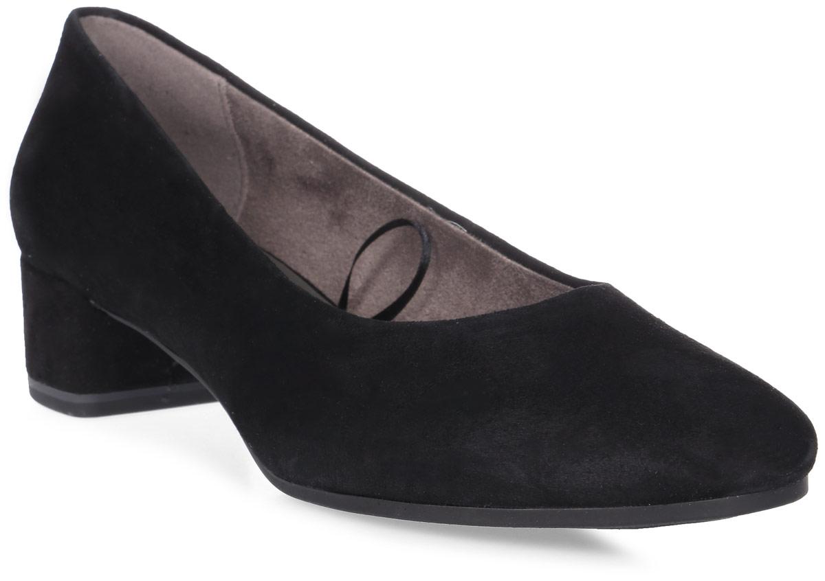 Туфли женские Tamaris, цвет: черный. 1-1-22303-38-001/225. Размер 391-1-22303-38-001/225Стильные туфли от Tamaris - незаменимая вещь в гардеробе каждой женщины. Модель выполнена из натуральной кожи. Подкладка изготовлена из текстиля, стелька - из искусственной кожи. Средней высоты толстый каблук устойчив. Подошва с рельефным рисунком обеспечивает отличное сцепление с различными поверхностями. Роскошные туфли помогут вам создать незабываемый образ.