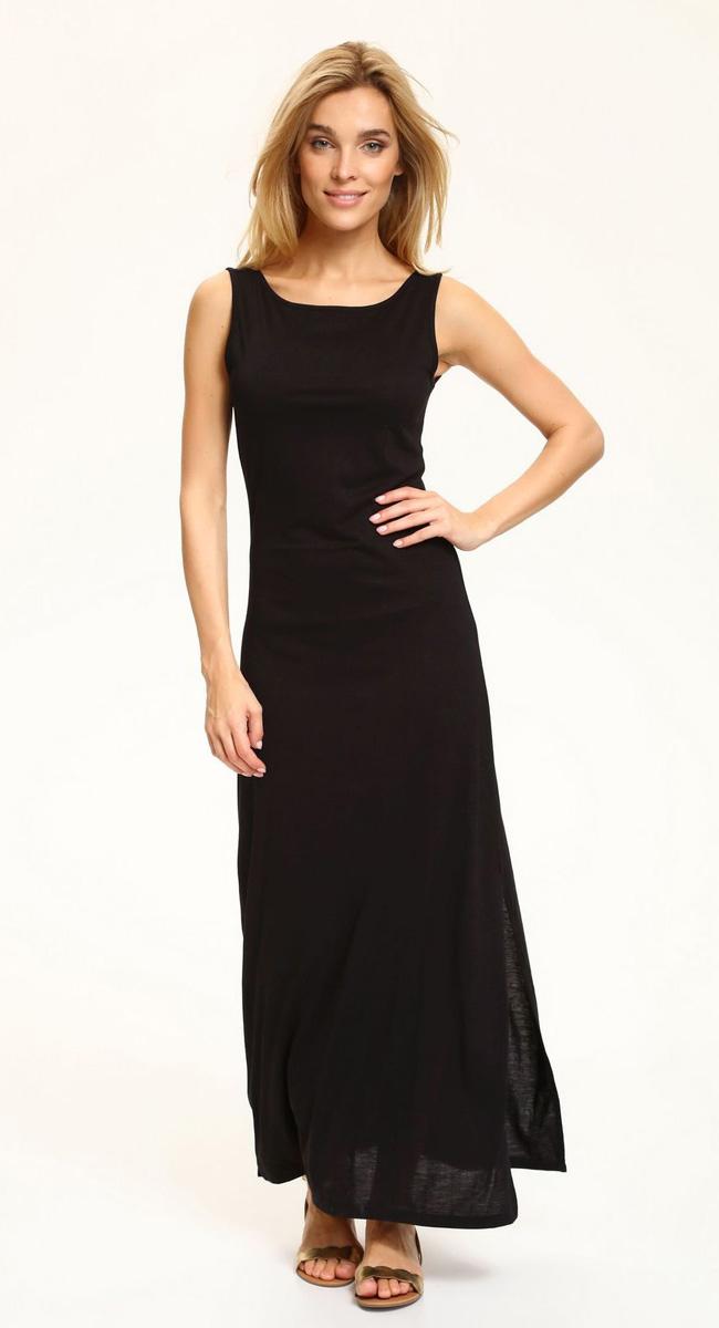 Платье Top Secret, цвет: черный. SSU1848CA. Размер 34 (42)SSU1848CAЛетнее трикотажное платье Top Secret, выгодно подчеркивающее достоинства фигуры, выполнено из качественного эластичного трикотажа. Модель макси-длины с круглым вырезом горловины спереди и широкими бретелями дополнена боковым разрезом на юбке. На спинке - глубокий V-образный вырез, оформленный двумя пересекающимися бретелями. Мягкая ткань приятна на ощупь и комфортна в носке.