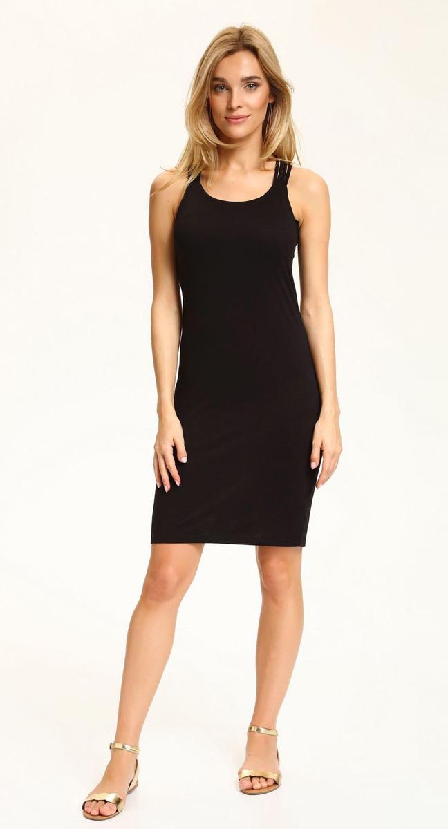 Платье Top Secret, цвет: черный. SSU1849CA. Размер 38 (46)SSU1849CAЛегкое облегающее платье Top Secret, выгодно подчеркивающее достоинства фигуры, выполнено из качественного эластичного трикотажа. Модель миди на спинке оформлена тонкими перекрещивающимися бретелями. Мягкая ткань приятна на ощупь и комфортна в носке.