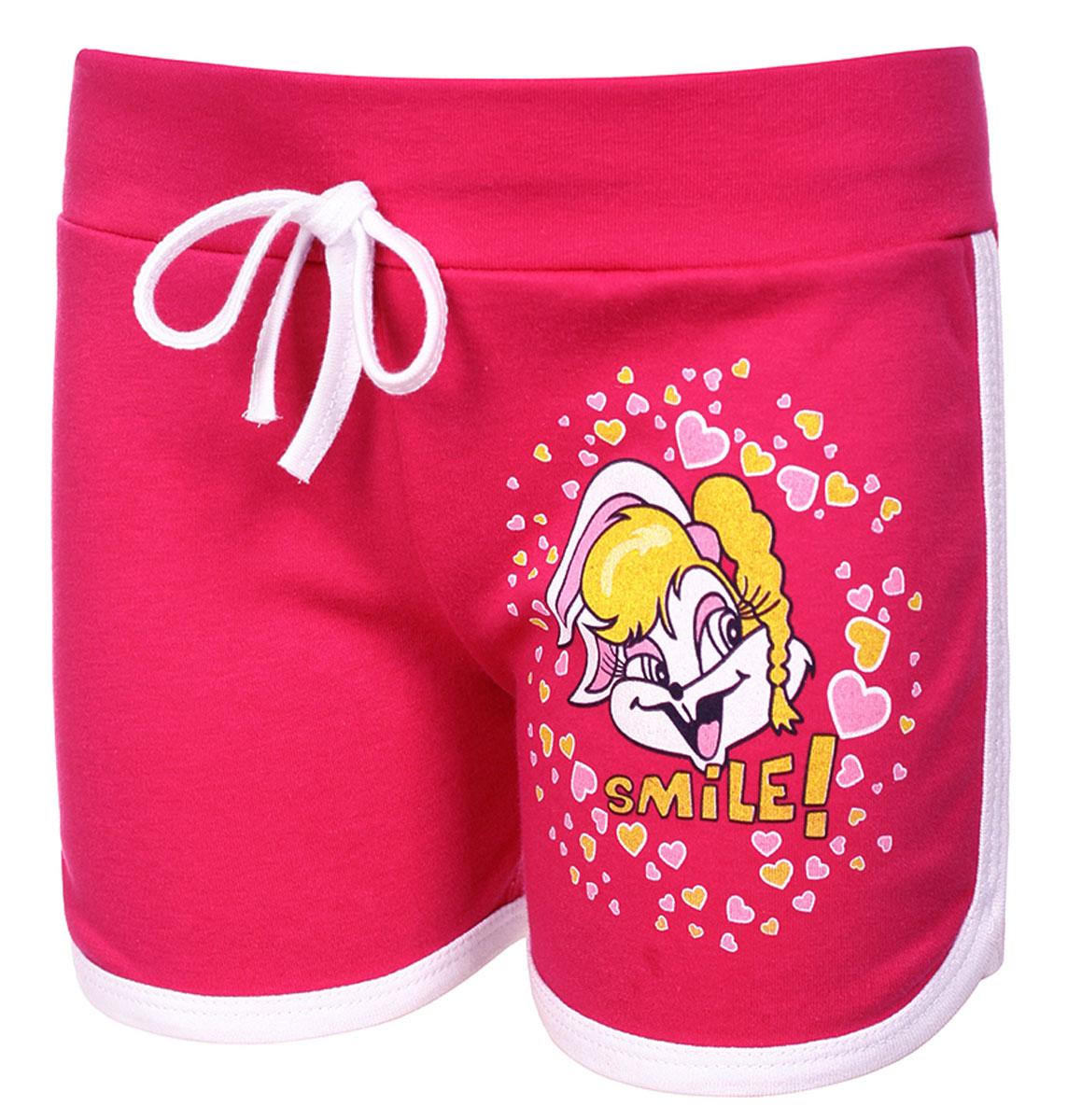 Шорты для девочки M&D, цвет: малиновый. М37006. Размер 128М37006Шорты для девочки от M&D выполнены из натурального хлопка. Эластичные пояс на талии дополнен затягивающимся шнурком.
