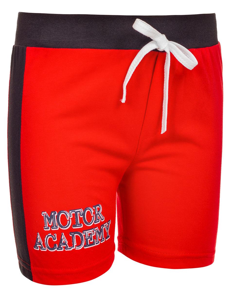 Шорты для мальчика M&D, цвет: красный, черный. М37207. Размер 104М37207Шорты для мальчика от M&D выполнены из натурального хлопка. Эластичный пояс на талии дополнен затягивающимся шнурком.