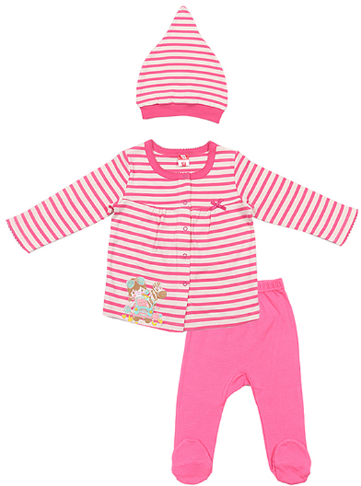 Комплект для девочки Cherubino: кофточка, ползунки, шапочка, цвет: розовый. CAB 9458. Размер 62CAB 9458Комплект ясельный для девочки Cherubino, состоит из полосатой кофточки свободного кроя, гладкорашенных ползунков и полосатой шапочки.