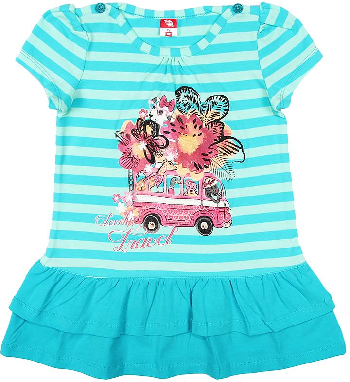Платье для девочки Cherubino, цвет: бирюзовый. CAK 61181. Размер 110CAK 61181Платье для девочки Cherubino с коротким рукавом, верх выполнен из полосатого трикотажа, по низу - воланы из однотонного материала. Декорировано принтом. Модель очень мягкая и легкая, не раздражает нежную кожу ребенка и хорошо вентилируется.