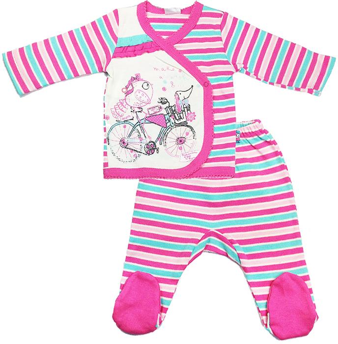 Комплект для девочки Cherubino, цвет: экрю, розовый, 5 предметов. CAN 9407. Размер 56CAN 9407Комплект для девочки Cherubino из тонкого трикотажа (интерлок). Состоит из 5 предметов: кофточки, ползунков, шапочки, рукавичек и нагрудника.