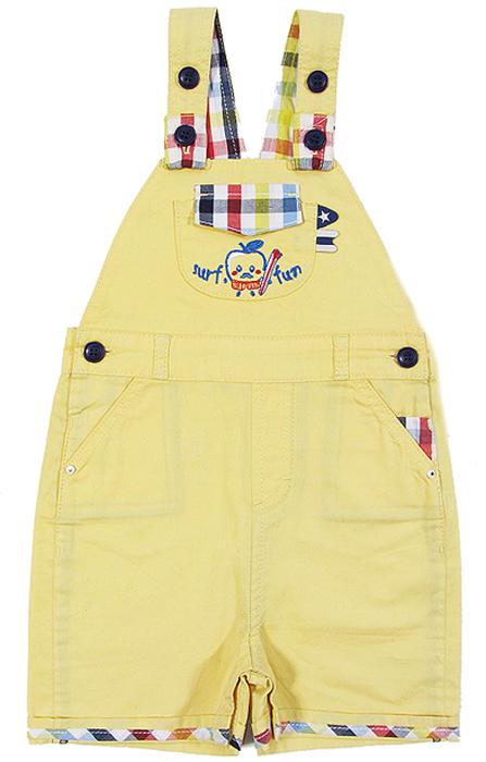 Комбинезон для мальчика Cherubino, цвет: желтый. CB 4T003. Размер 80CB 4T003Полукомбинезон для мальчика Cherubino изготовлен из хлопка, не сковывает движения малыша и позволяет коже дышать. Лямки регулируются пуговицами. Имеются карманы.