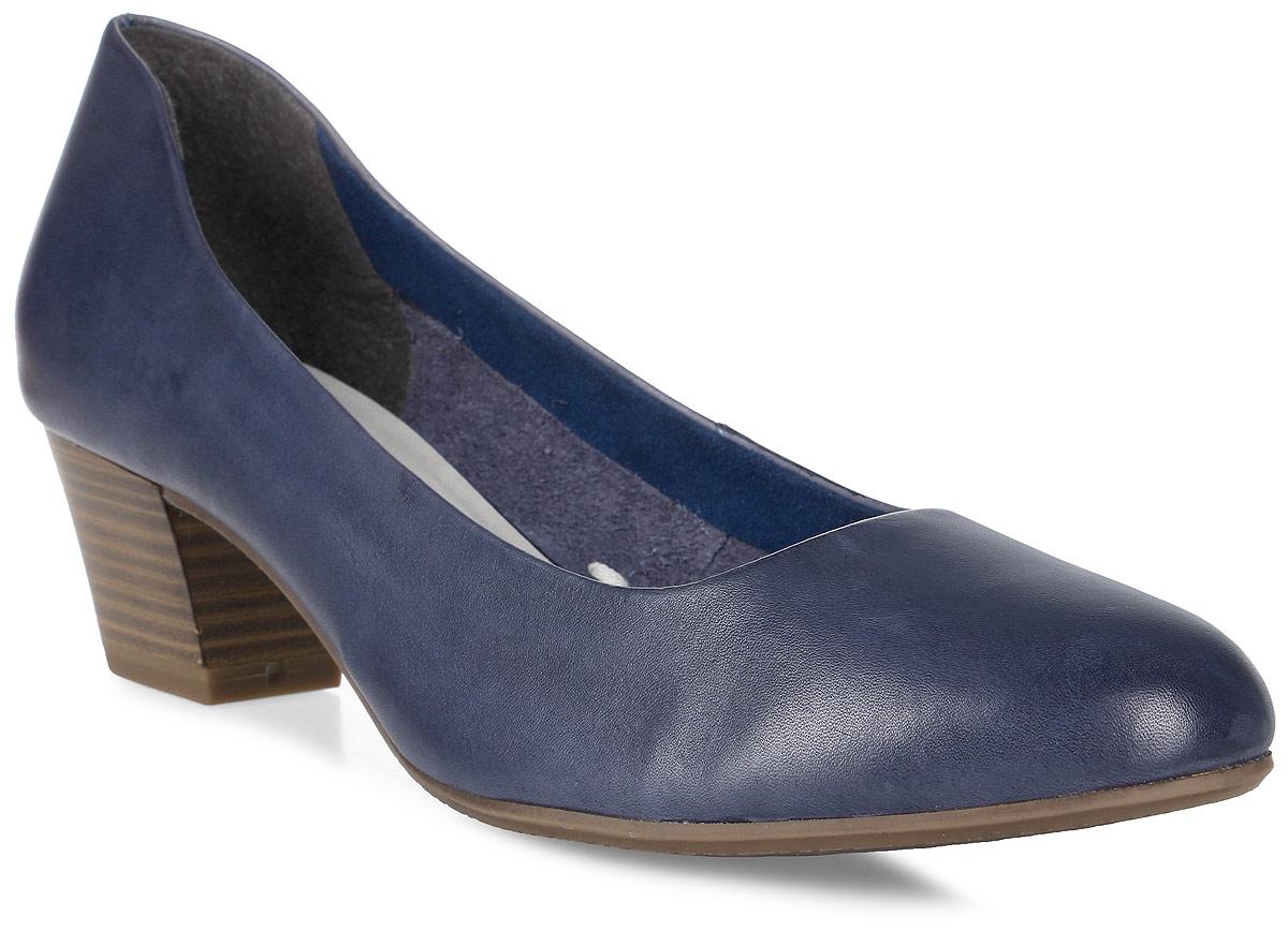 Туфли женские Tamaris, цвет: синий. 1-1-22302-28-976/225. Размер 381-1-22302-28-976/225Стильные туфли от Tamaris - незаменимая вещь в гардеробе каждой женщины. Модель выполнена из натуральной кожи. Подкладка изготовлена из текстиля, стелька - из искусственной кожи. Подошва с рифленым рисунком гарантирует отличное сцепление с различными поверхностями. Толстый каблук, стилизованный под дерево, устойчив. Роскошные туфли помогут вам создать незабываемый образ.