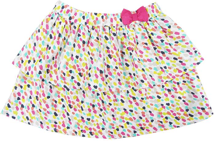 Юбка для девочки Cherubino, цвет: розовый. CJ 7T033. Размер 128CJ 7T033Юбка для девочки Cherubino из тонкого хлопкового набивного текстиля. Двухслойная, пояс украшен декоративным бантом.