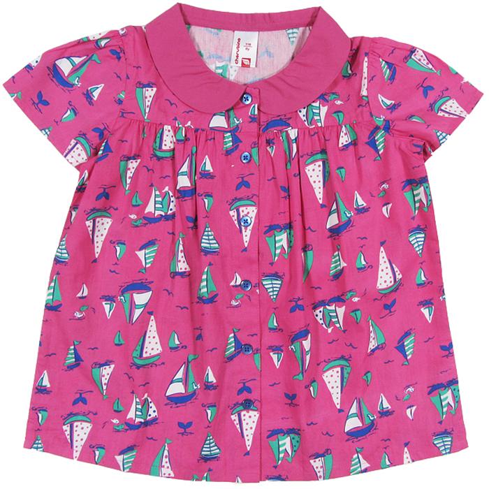 Блузка для девочки Cherubino, цвет: розовый. CK 6T024. Размер 116CK 6T024Блузка для девочки Cherubino изготовлена из тонкого набивного текстиля. Модель свободного кроя, с воротничком, на пуговицах.
