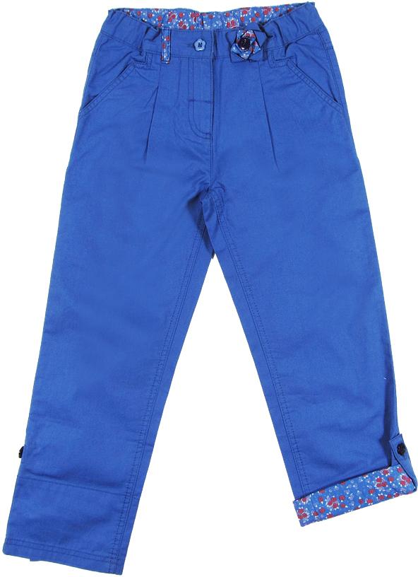 Брюки для девочек Cherubino, цвет: голубой. CK 7T021. Размер 104CK 7T021Брюки для девочки Cherubino изготовлены из натурального хлопка. По низу брючин имеются отвороты из контрастного набивного полотна с пуговицей. Пояс отделан также, как отвороты.