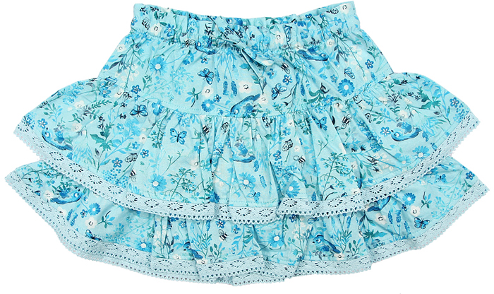 Юбка для девочки Cherubino, цвет: голубой. CK 7T054 (146). Размер 110CK 7T054 (146)Юбка для девочки Cherubino изготовлена из набивного текстиля. На талии эластичная резинка, воланы отделаны кружевом.