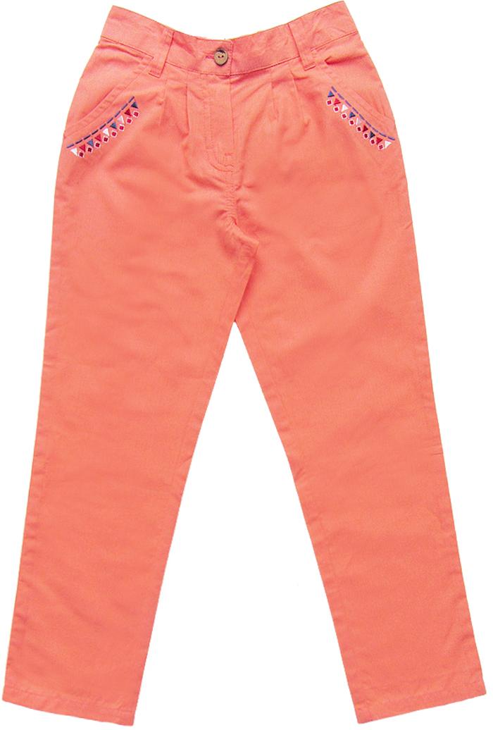 Брюки для девочки Cherubino, цвет: коралловый. CK 7T068 (154). Размер 122CK 7T068 (154)Брюки для девочки Cherubino выполнены из гладкокрашеного текстиля. Модель с поясом на пуговице, задняя часть пояса на резинке надежно фиксирует брюки и не сдавливает животик ребенка. Имеются карманы украшенные принтом.