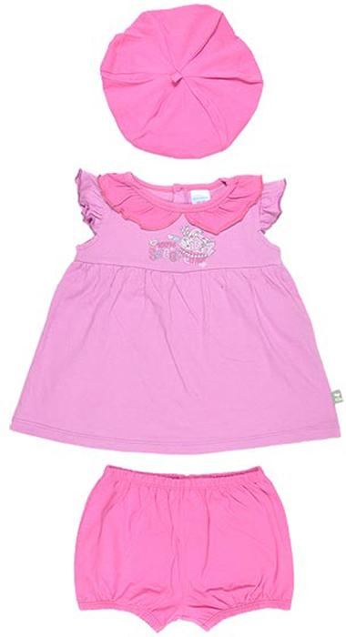 Комплект для девочки Cherubino: туника, шорты, шапочка, цвет: розовый, фуксия. CSB 9229 (17). Размер 80CSB 9229 (17)Комплект для девочки Cherubino послужит идеальным дополнением к гардеробу вашей крохи, состоит из туники, шортиков и шапочки. Весь комплект выполнен из тонкого трикотажа, он очень мягкий и легкий, не раздражает нежную кожу ребенка и хорошо вентилируется.