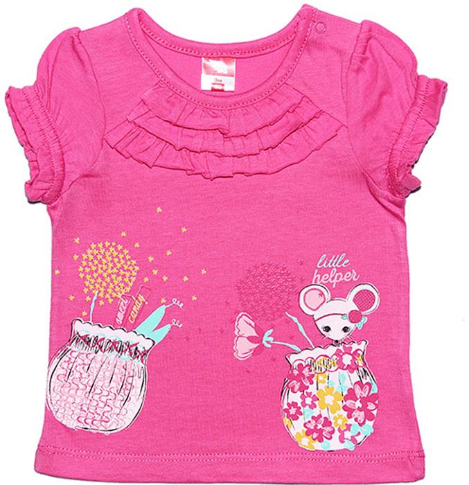 Футболка для девочки Cherubino, цвет: розовый. CSB 61291. Размер 86CSB 61291Футболка для девочки Cherubino изготоалена из натурального хлопка. Модель украшена принтом и мелкими рюшками на передней части, рукава собраны на резиночки.
