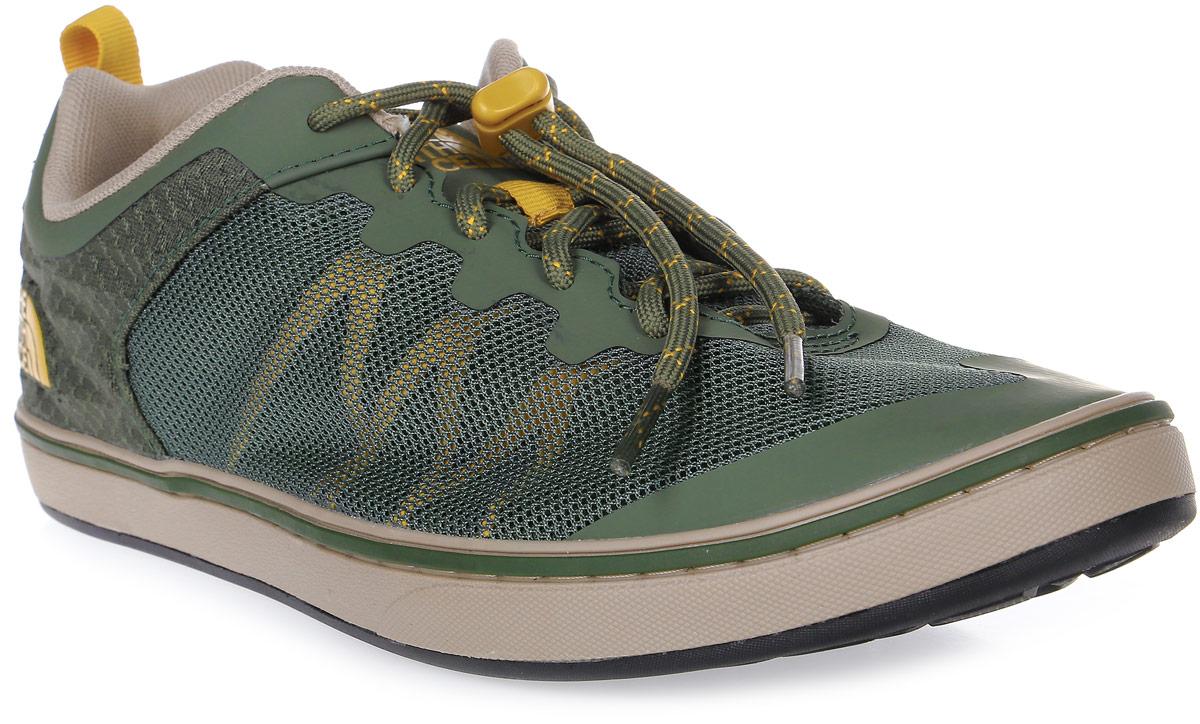 Кроссовки мужские The North Face M Base Camp Flow Sneaker (Ap), цвет: зеленый. T92UXNTHK. Размер 10H (44)T92UXNTHKЛегкие кроссовки Base Camp Flow Sneaker - отличный вариант для города или базового лагеря. Дышащие сетчатые вставки для вентиляции и максимального комфорта. Шнуровка со стоппером вместе с мягким язычком обеспечивает надежную фиксацию ноги. В таких кроссовках вашим ногам будет комфортно и уютно.