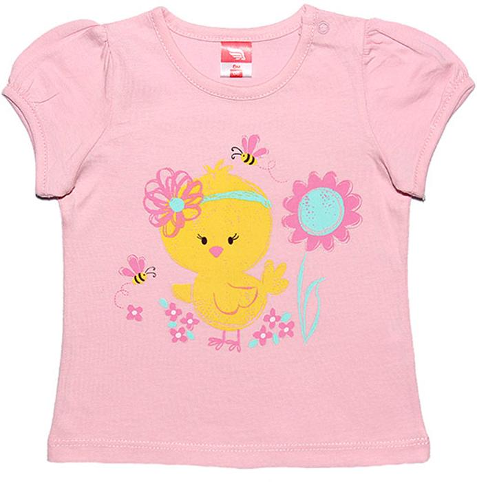 Футболка для девочки Cherubino, цвет: светло-розовый. CSB 61292. Размер 80CSB 61292Футболка для девочки Cherubino изготовлена из натурального хлопка. Однотонная модель оформлена оригинальным принтом.