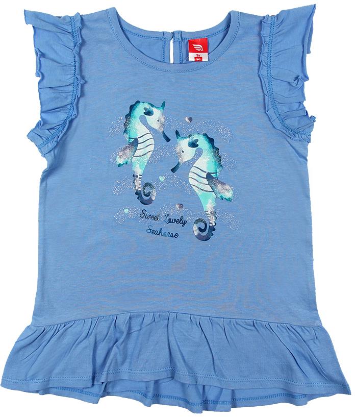 Платье для девочки Cherubino, цвет: голубой. CSB 61549 (144). Размер 98CSB 61549 (144)Платье для девочки Cherubino изготовлено из натурального хлопка. Однотонная модель оформлена оригинальным принтом и рукавами-крылышками.