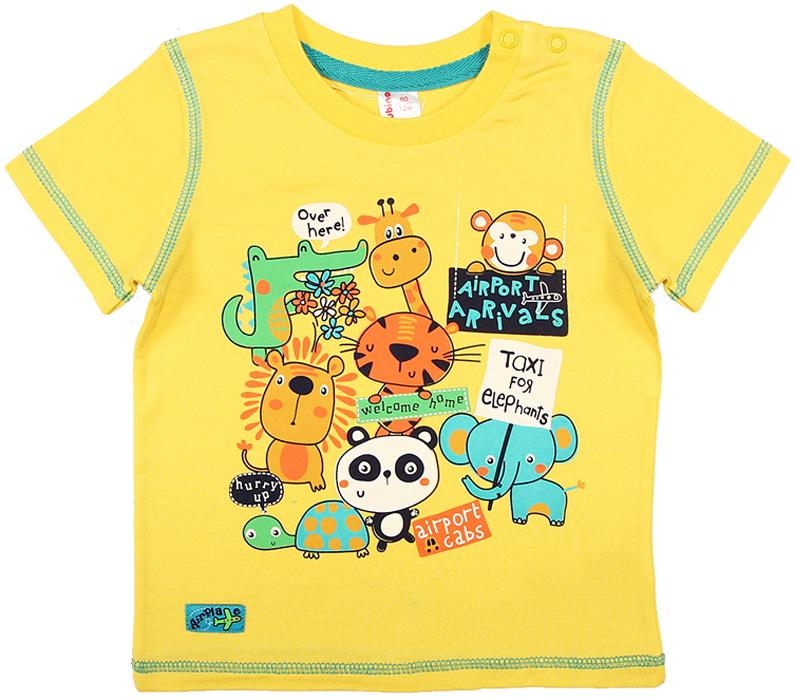 Футболка для мальчика Cherubino, цвет: желтый. CSB 61559. Размер 80CSB 61559Футболка для мальчика Cherubino, с коротким рукавом, гладкокрашенная, яркий принт на передней полочке. Кнопки по плечу помогут Вам легко одеть малыша.