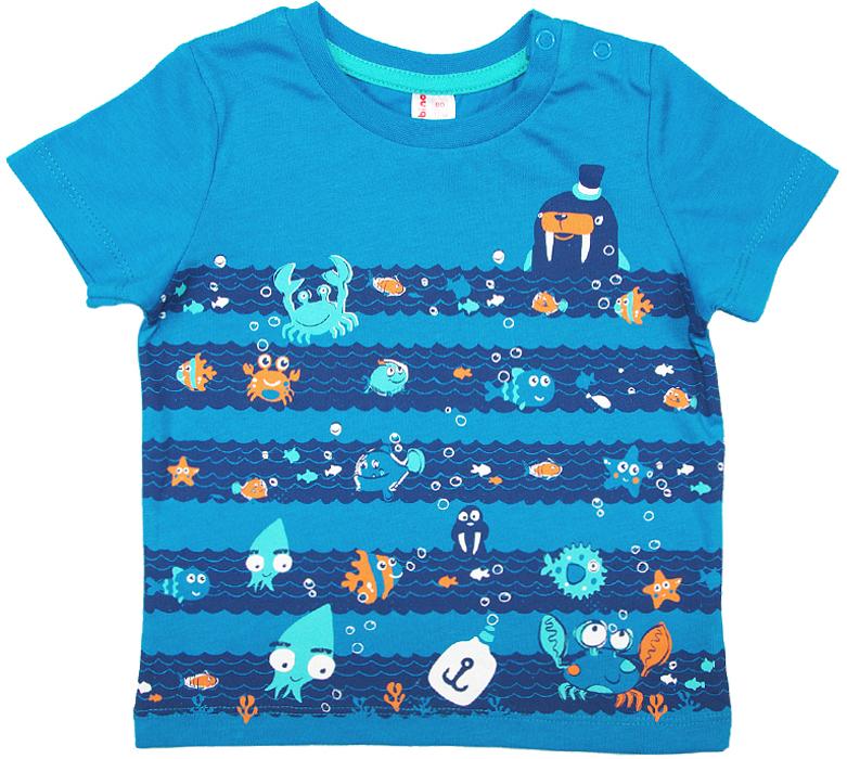 Футболка для мальчика Cherubino, цвет: синий. CSB 61609 (153). Размер 92CSB 61609 (153)Футболка для мальчика Cherubino изготовлена из натурального хлопка. Модель оформлена оригинальным принтом и кнопками на плече.