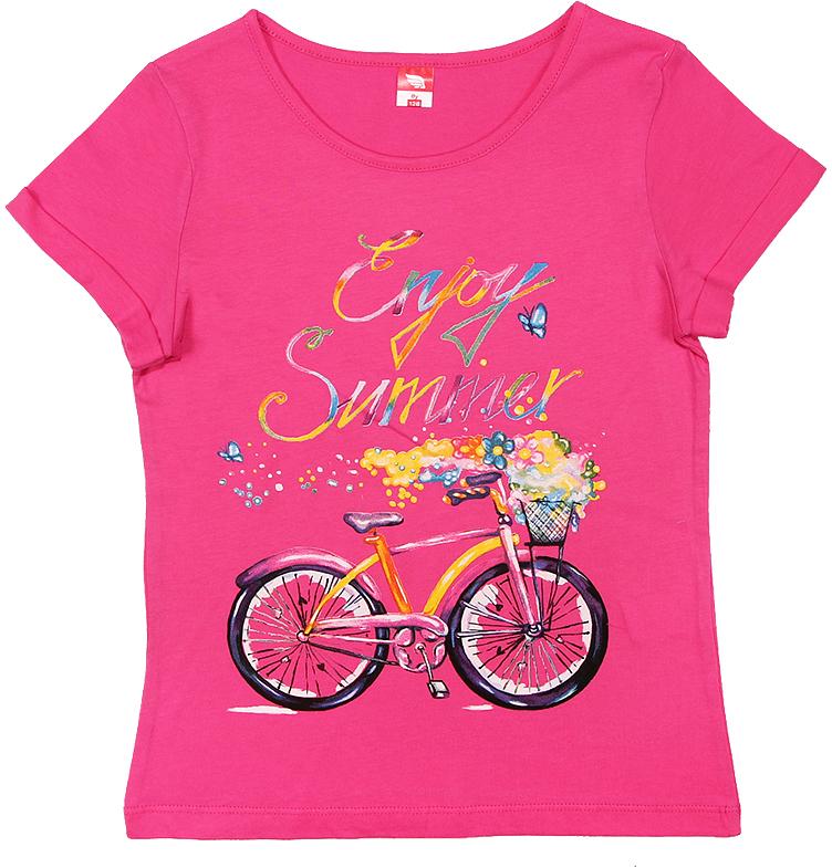 Футболка для девочки Cherubino, цвет: розовый. CSJ 61587. Размер 140CSJ 61587Футболка для девочки Cherubino изготовлена из натурального хлопка. Однотонная модель декорирована оригинальным принтом.