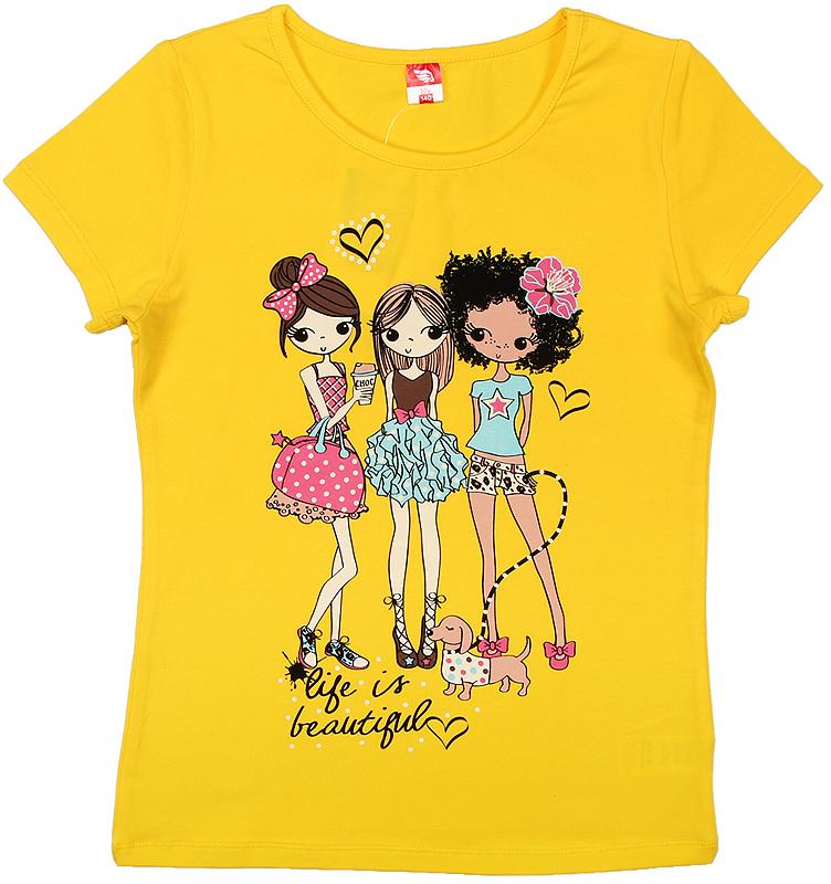 Футболка для девочки Cherubino, цвет: желтый. CSJ 61589. Размер 158CSJ 61589Футболка для девочки Cherubino изготовлена из хлопка с эластаном. Однотонная модель декорирована оригинальным принтом.