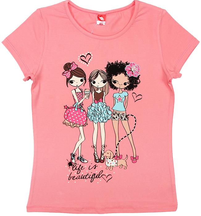 Футболка для девочки Cherubino, цвет: розовый. CSJ 61589. Размер 152CSJ 61589Футболка для девочки Cherubino изготовлена из хлопка с эластаном. Однотонная модель декорирована оригинальным принтом.