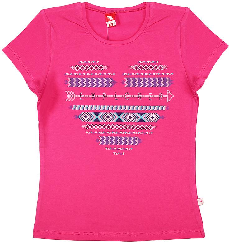 Футболка для девочки Cherubino, цвет: розовый. CSK 61623 (154). Размер 116CSK 61623 (154)Футболка для девочки Cherubino с коротким рукавом из трикотажа с эластаном, декорирована принтом.