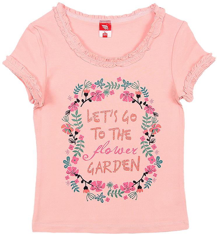 Футболка для девочки Cherubino, цвет: розовый. CSK 61573. Размер 110CSK 61573Футболка для девочки Cherubino изготовлена из хлопка и эластана. Однотонная модель оформлена принтом.