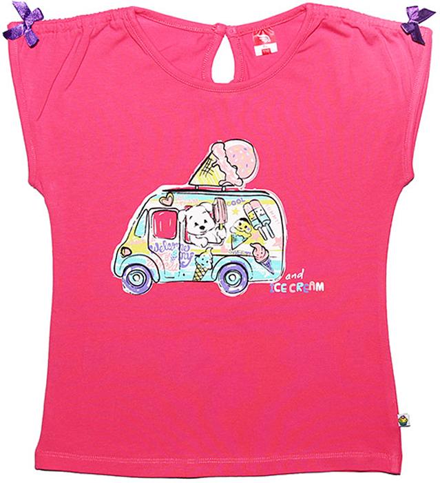 Футболка для девочки Cherubino, цвет: розовый. CSK 61321 (120). Размер 92CSK 61321 (120)Футболка для девочки Cherubino изготовлена из хлопкового трикотажа с эластаном. Модель оформлена оборками по плечу и оригинальным принтом.