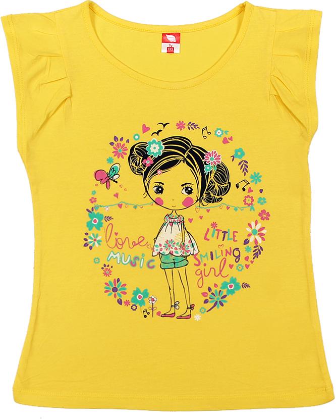 Футболка для девочки Cherubino, цвет: желтый. CSK 61569. Размер 116CSK 61569Футболка для девочки Cherubino изготовлена из натурального хлопка. Однотонная модель украшена оригинальным принтом.