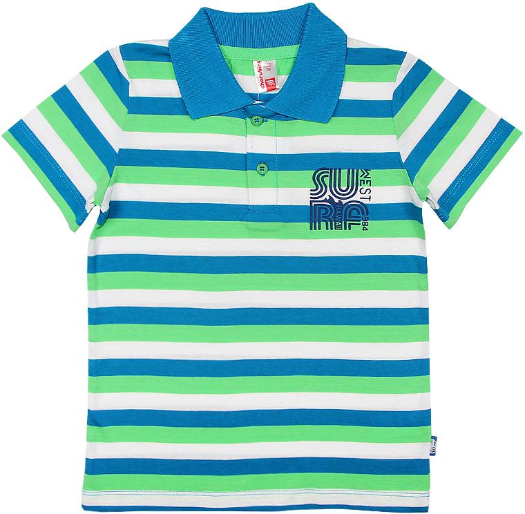 Поло для мальчика Cherubino, цвет: зеленый. CSK 61576 (147). Размер 110CSK 61576 (147)Поло для мальчика Cherubino изготовлено из натурального хлопка. Полосатая модель оформлена отложным воротничком и застежкой с пуговицами.