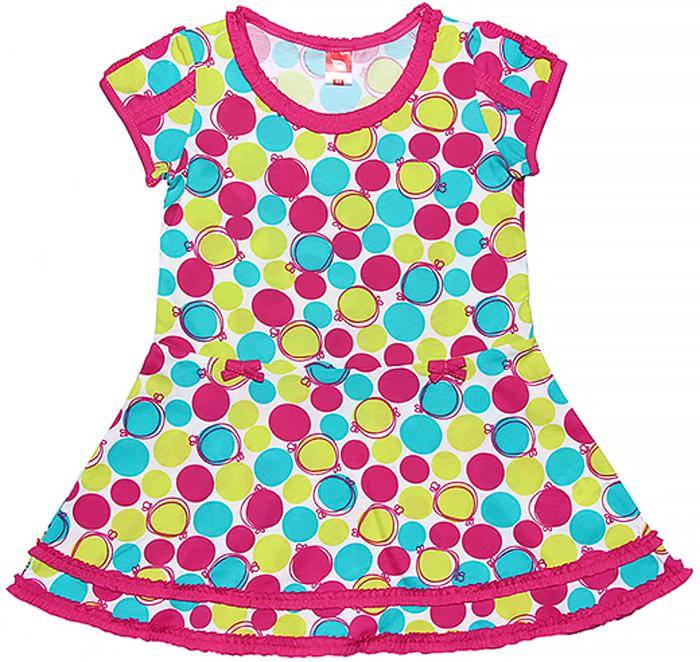 Платье для девочки Cherubino, цвет: бирюзовый. CSK 61390 (125). Размер 110CSK 61390 (125)Трикотажное платье для девочки Cherubino изготовлено из натурального хлопка. Яркая модель из набивного полотна украшена мелкими рюшами.