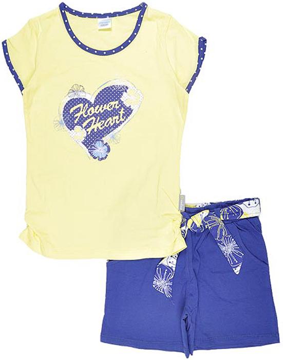 Комплект одежды для девочки Cherubino: футболка, шорты, цвет: желтый. CSK 9205 (7). Размер 122CSK 9205 (7)Комплект для девочки Cherubino изготовлен из натурального хлопка. Комплект состоит из однотонной футболки с контрастной отделкой рукавов и горловины, с принтом и шорт контрастного цвета с широким набивным поясом.