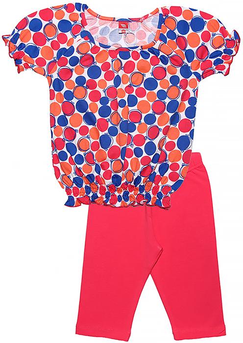 Комплект одежды для девочки Cherubino: футболка, бриджи, цвет: розовый. CSK 9588 (125). Размер 116CSK 9588 (125)Летний комплект для девочки Cherubino выполнен из хлопка с добавлением эластана. Комплект состоит из набивной футболки, у которой низ и рукава собраны на тонкие резиночки и ярких бридж.