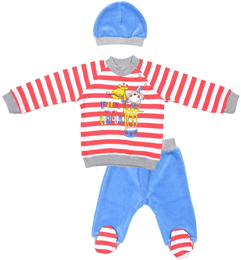 Комплект для мальчика Cherubino: джемпер, брюки, шапочка, цвет: красный, синий. CWN 9419. Размер 80CWN 9419Комплект для мальчика Cherubino изготовлен из натурального хлопка. Комплект состоит из полосатого джемпера с принтом, однотонных ползунков и шапочки.