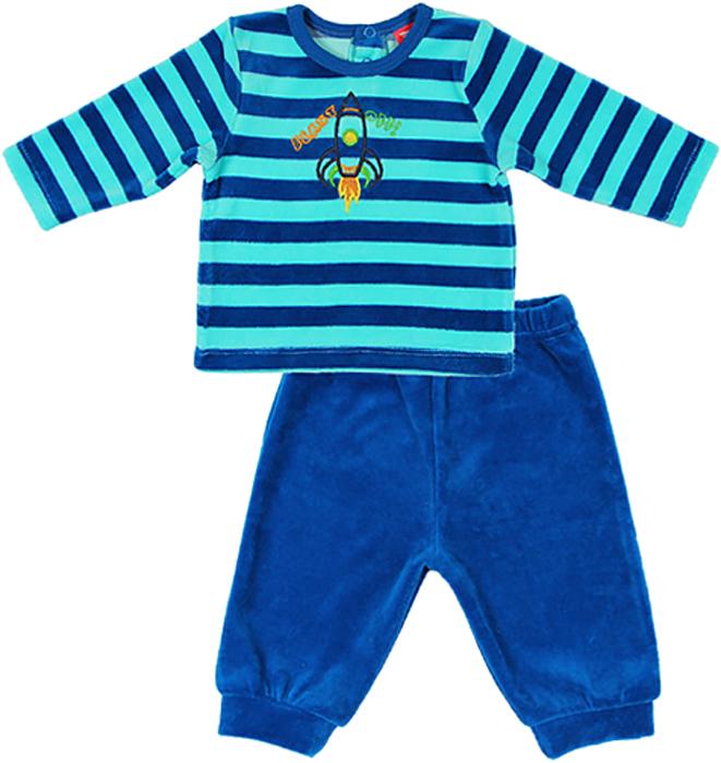 Комплект для мальчика Cherubino: джемпер, брюки, цвет: синий. CWN 9526 (131). Размер 80CWN 9526 (131)Велюровый комплект для мальчика Cherubino послужит идеальным дополнением к гардеробу вашего крохи, состоит из полосатого джемпера и гладкокрашенных брючек. Комплект очень мягкий и легкий, не раздражает нежную кожу ребенка и хорошо вентилируется.