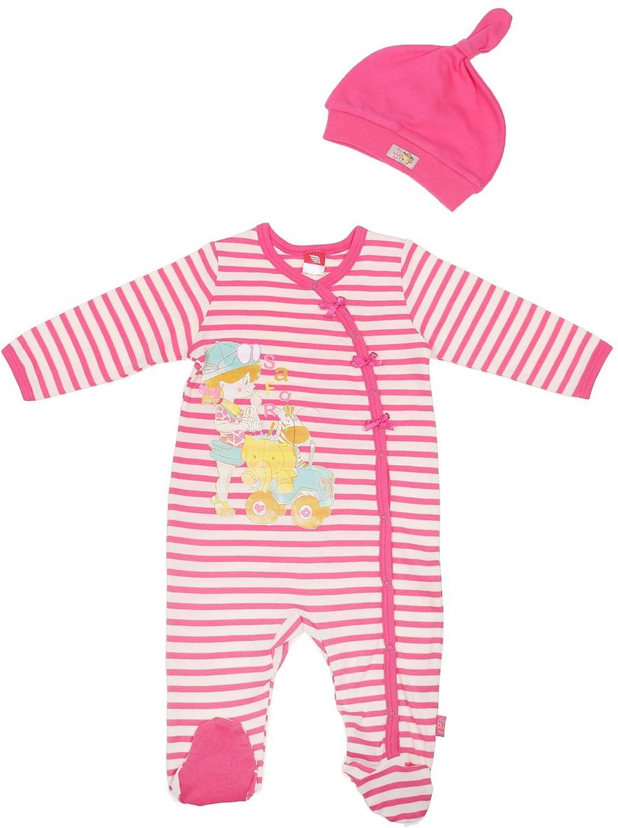 Комплект для девочки Cherubino: комбинезон, шапочка, цвет: розовый. CAB 9459. Размер 74CAB 9459Комплект ясельный для девочки Cherubino, состоит из полосатого комбинезона на кнопках и гладкокрашенной шапочки.