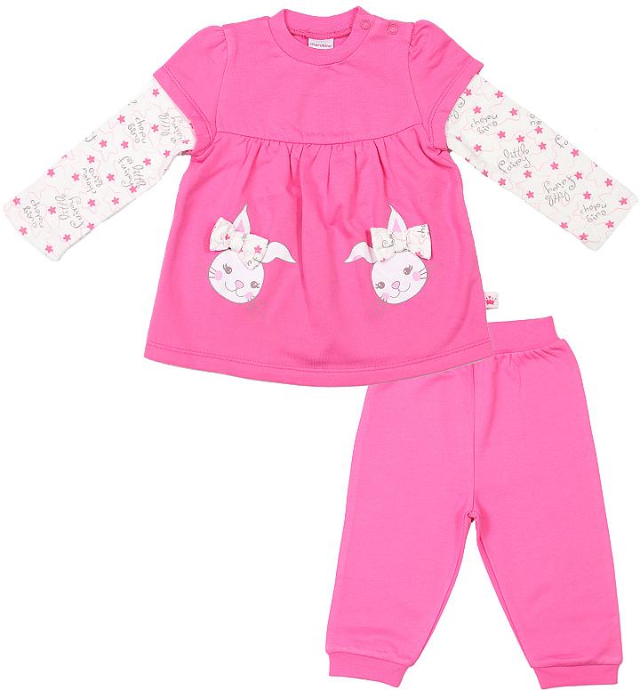 Комплект для девочки Cherubino: джемпер, брюки, цвет: розовый. CWN 9423. Размер 68CWN 9423Комплект для девочки Cherubino состоит из джемпера свободного кроя и брючек. Брючки на талии дополнены эластичной резинкой.
