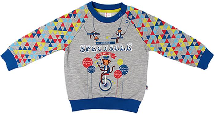 Джемпер для мальчика Cherubino, цвет: синий. CWB 61444 (135). Размер 80CWB 61444 (135)Джемпер для мальчика Cherubino изготовлен из мягкого трикотажа с начесом. Модель застегивается на плече на кнопки и украшена принтом.