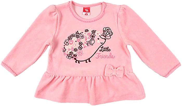 Джемпер для девочки Cherubino, цвет: светло-розовый. CWN 61233 (128). Размер 68CWN 61233 (128)Джемпер для девочки Cherubino изготовлен из мягкого велюра. Модель дополнена по низу воланом.