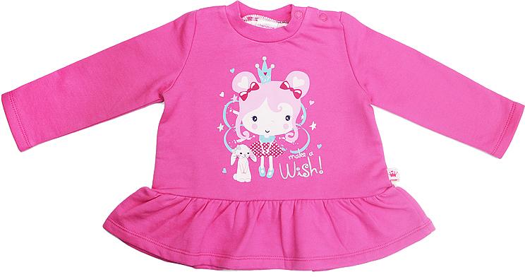 Джемпер для девочки Cherubino, цвет: розовый. CWN 6973. Размер 74CWN 6973Джемпер для девочки Cherubino изготовлен из хлопка, гладкокрашеный с принтом. Модель дополнена по низу воланом.