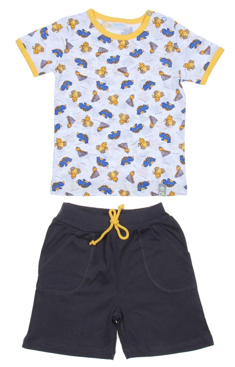 Комплект для мальчика Cherubino: футболка, шорты, цвет: желтый, графит. CSB 9234 (20). Размер 80CSB 9234 (20)Комплект для мальчика Cherubino послужит идеальным дополнением к гардеробу вашего крохи, состоит из набивной футболки и шорт контрастного цвета. Комплект очень мягкий и легкий, не раздражает нежную кожу ребенка и хорошо вентилируется.